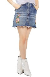 Topshop Petite Women's Rose Denim Miniskirt Mid Denim