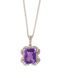 Effy Viola Amethyst Diamond And 14K Rose Gold Pendant Necklace Purple