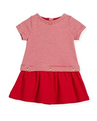 Petit Bateau Short Sleeve Striped Dress W Golden Buttons Red White