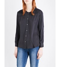 Masscob Long Sleeved Textured Silk Blouse Black Delave
