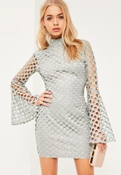 Missguided Grey Flute Sleeve Circle Lace High Neck Bodycon Dress