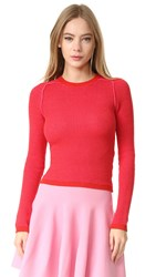 Carven Long Sleeve Sweater Rouge Rose