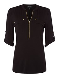 Episode Shirt With Zip Neck And Pockets Black