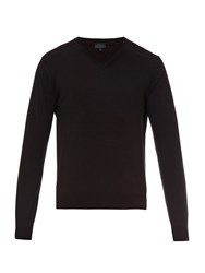 Lanvin V Neck Cotton And Wool Blend Sweater