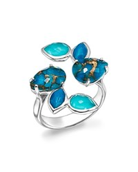 Ippolita Sterling Silver Rock Candy Mixed Turquoise And Doublet Bypass Ring Blue Silver