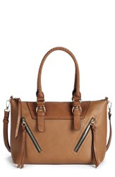 Sole Society Girard Faux Leather Satchel Brown Cognac