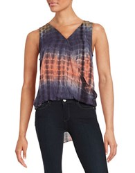 Design Lab Lord And Taylor Tie Dye Hi Lo Top Purple Multi