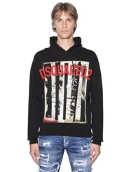Dsquared Hooded Newspaper Print Cotton Sweatshirt