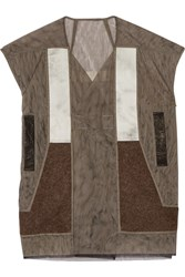 Rick Owens Wool Paneled Mesh Vest Brown