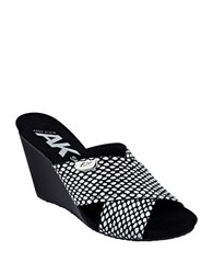 Anne Klein Toria Slide Sandals Black White