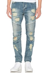 Stampd Distressed Moto Denim Indigo