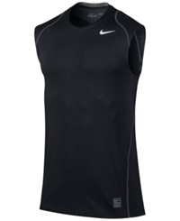 Nike Pro Cool Dri Fit Fitted Sleeveless Shirt Black White
