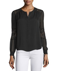 Rebecca Taylor Long Sleeve Silk And Lace Blouse Black Women's Size 0