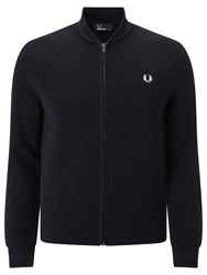 Fred Perry Bomber Neck Zip Through Cardigan Black