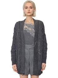 Ermanno Scervino Oversized Wool Blend Knit Cardigan Grey