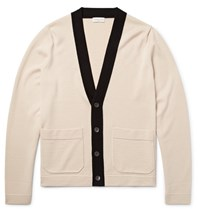 Dries Van Noten Contrast Trimmed Merino Wool Cardigan Ecru