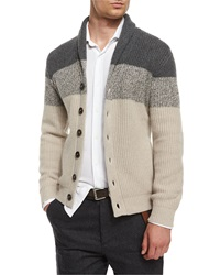 Brunello Cucinelli Shawl Collar Colorblock Cashmere Cardigan Light Brown