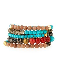 Nakamol Turquoise And Crystal Mix Stretch Bracelet Set Women's