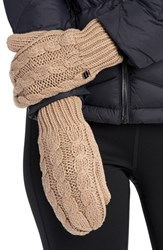 Lole Women's Cable Knit Mittens Feather Grey