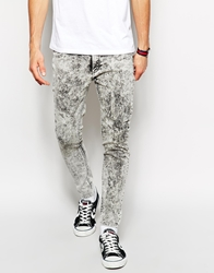 Cheap Monday Jeans Low Spray Super Skinny Master Ice Acid Wash Blue