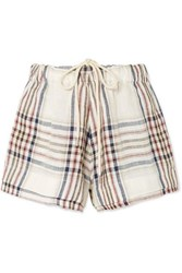 Bassike Checked Linen Canvas Shorts White