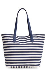 Bp. Faux Leather Trim Canvas Tote Blue Navy Stripe