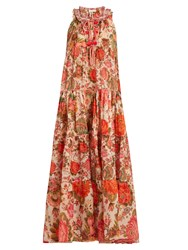 Anjuna Floral Print Tiered Cotton Lawn Dress Pink Multi