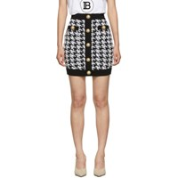 Balmain Black And White Houndstooth Tweed Miniskirt