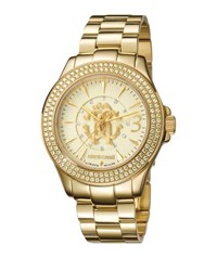 Roberto Cavalli 37.5Mm Pave Crystal Yellow Golden Stainless Steel Bracelet Watch Champagne