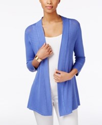 Charter Club Three Quarter Sleeve Open Cardigan Only At Macy's Worldly Blue