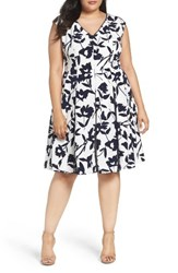 London Times Plus Size Women's Lace Inset Floral Fit And Flare Dress
