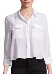 Equipment Cropped Three Quarter Sleeve Signature Silk Blouse Bright White
