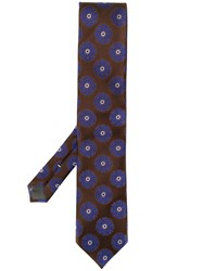 Canali Floral Patterned Tie Brown