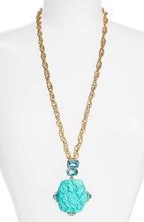 Oscar De La Renta Women's Carved Resin Pendant Necklace