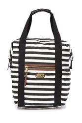 Madden Girl Striped Canvas Backpack Blk Wht