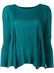 Issey Miyake Pleats Please By Longsleeved Pleated Top Blue