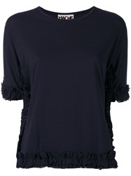 Hache Ruched Trim T Shirt Blue
