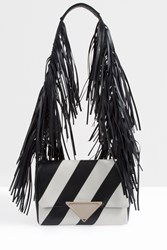 Sara Battaglia Striped Fringe Shoulder Bag Black