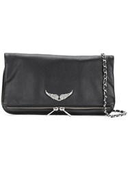 Zadig And Voltaire Wings Plaque Shoulder Bag Black