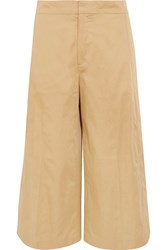 Joseph Fitz Cropped Cotton Wide Leg Pants Beige