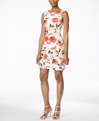Connected Petite Tiered Floral Print Sheath Dress Med Orange