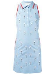 Drome Embroidered Flower Dress Blue