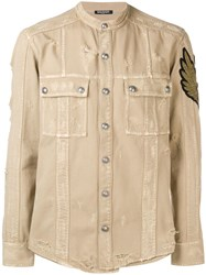 Balmain Distressed Patch Shirt Neutrals