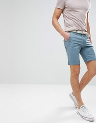 Bellfield Chino Shorts With Belt Blue