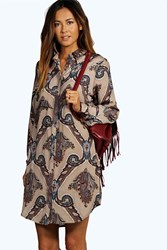 Boohoo Paisley Print Shirt Dress Stone