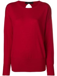 Federica Tosi Round Neck Knit Top Red