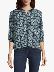 Betty And Co. Graphic Print Blouse Blue Green