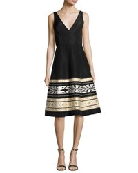 Oscar De La Renta Ikat Embroidered Faille Cocktail Dress Black White Black White