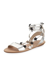 Loeffler Randall Starla Flat Leather Gladiator Sandal Black White