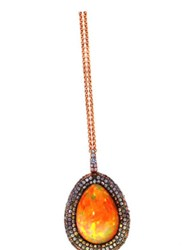 Susan Foster 18K Rose Gold Ethiopian Opal All Natural Peach Pastel Yellow Teal Sapphire Pave 8.29 Cts W Opal Multi